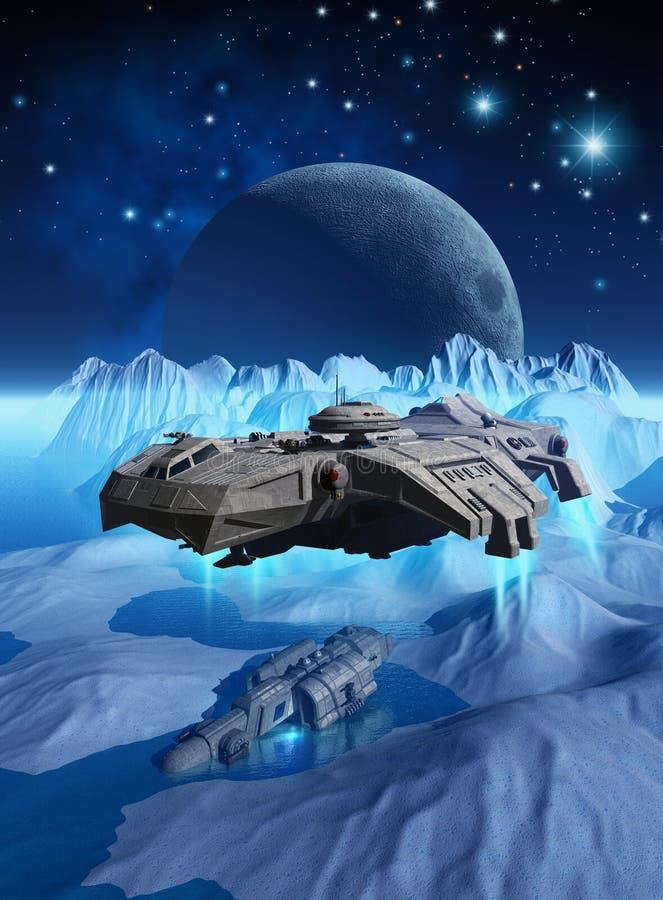 L'astronave che esplora la superficie di un pianeta straniero congelato che cerca un relitto, 3d rende illustrazione di stock