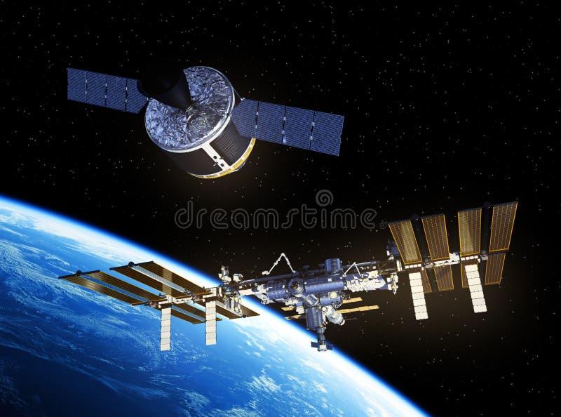 L'astronave del carico sta preparando mettersi in bacino con la Stazione Spaziale Internazionale royalty illustrazione gratis
