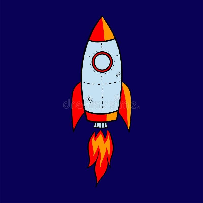 L'astronave del razzo del fumetto decolla, vector l'illustrazione Retro icona semplice dell'astronave fotografie stock