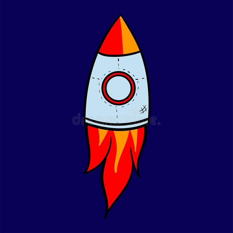 L'astronave del razzo del fumetto decolla, vector l'illustrazione Retro icona semplice dell'astronave fotografia stock libera da diritti