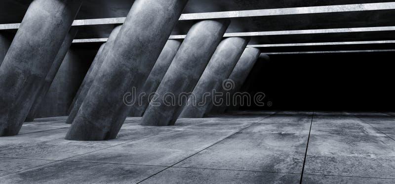 L'astronave straniera di lerciume concreto di Sci Fi ha inclinato le colonne enormi a forma di in tunnel piastrellato scuro di Ha illustrazione vettoriale