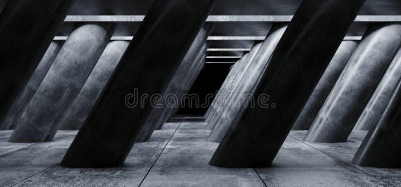 L'astronave straniera di lerciume concreto di Sci Fi ha inclinato le colonne enormi a forma di in tunnel piastrellato scuro di Ha royalty illustrazione gratis