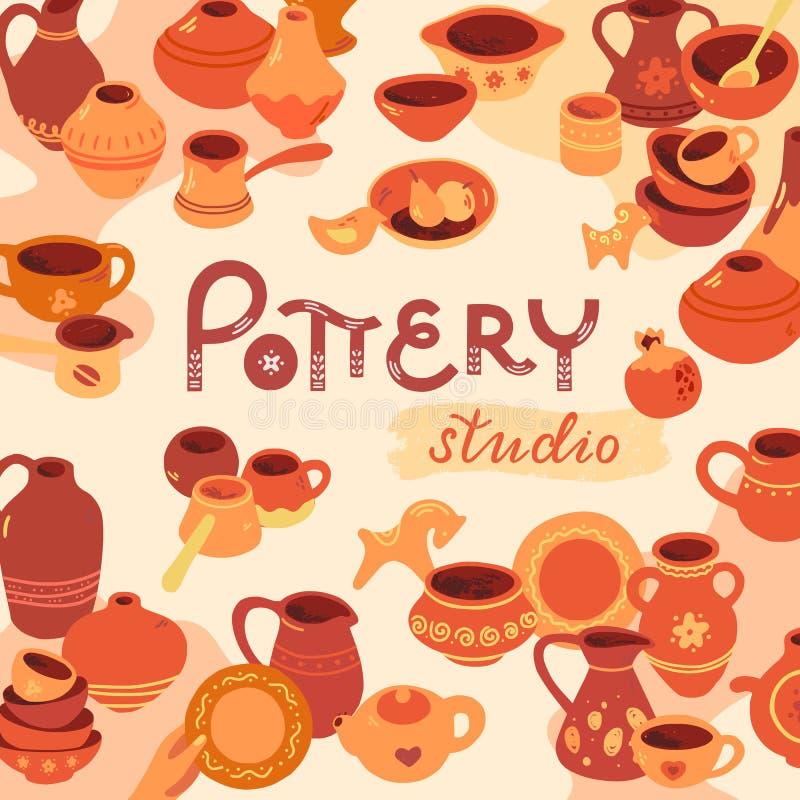 L'atelier de poterie, céramique classe l'illustration de bannière Ligne icône de vecteur des outils de studio d'argile Roue de po illustration stock