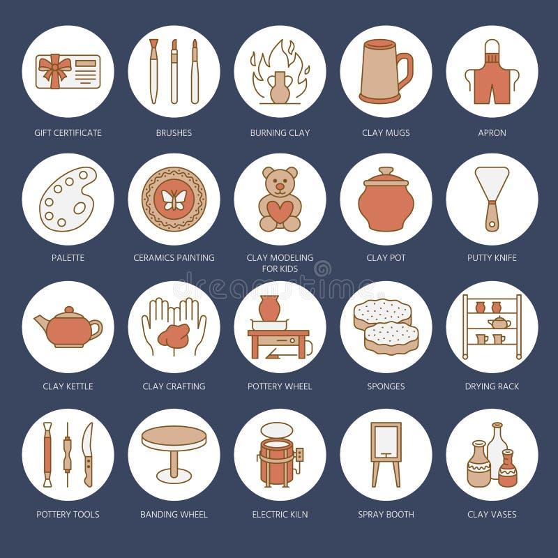 L'atelier de poterie, céramique classe la ligne icônes Le studio d'argile usine des signes Bâtiment de main, sculptant l'équipeme illustration de vecteur