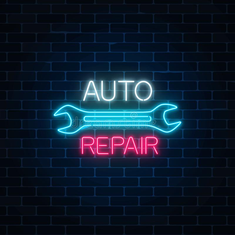 L'atelier de réparations automatiques au néon se connectent le fond foncé de mur de briques Symbole rougeoyant de la publicité de illustration de vecteur