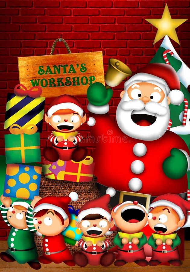 L'atelier de Santa illustration stock