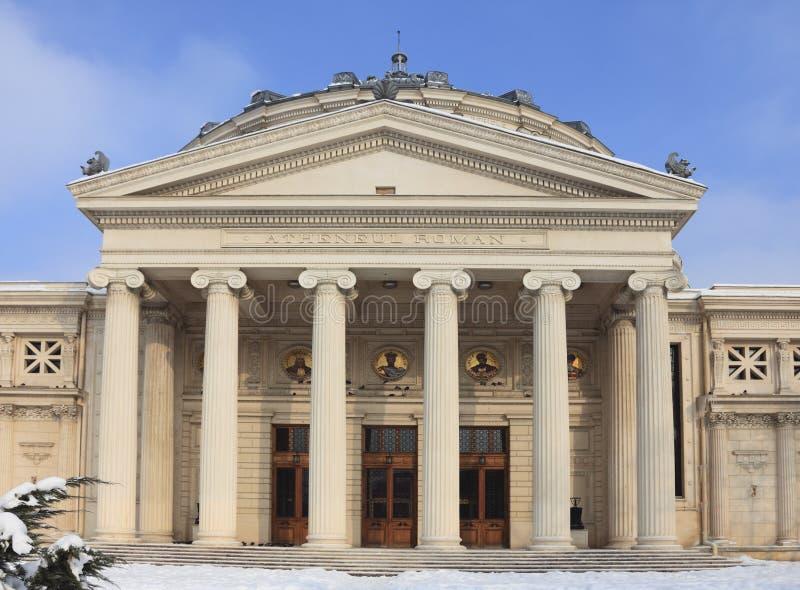 l'Athenaeum roumain en hiver photos stock