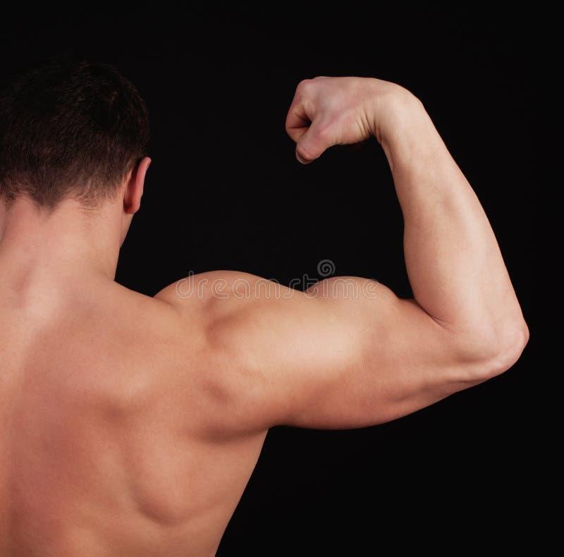 L'athlète affiche ses muscles images stock