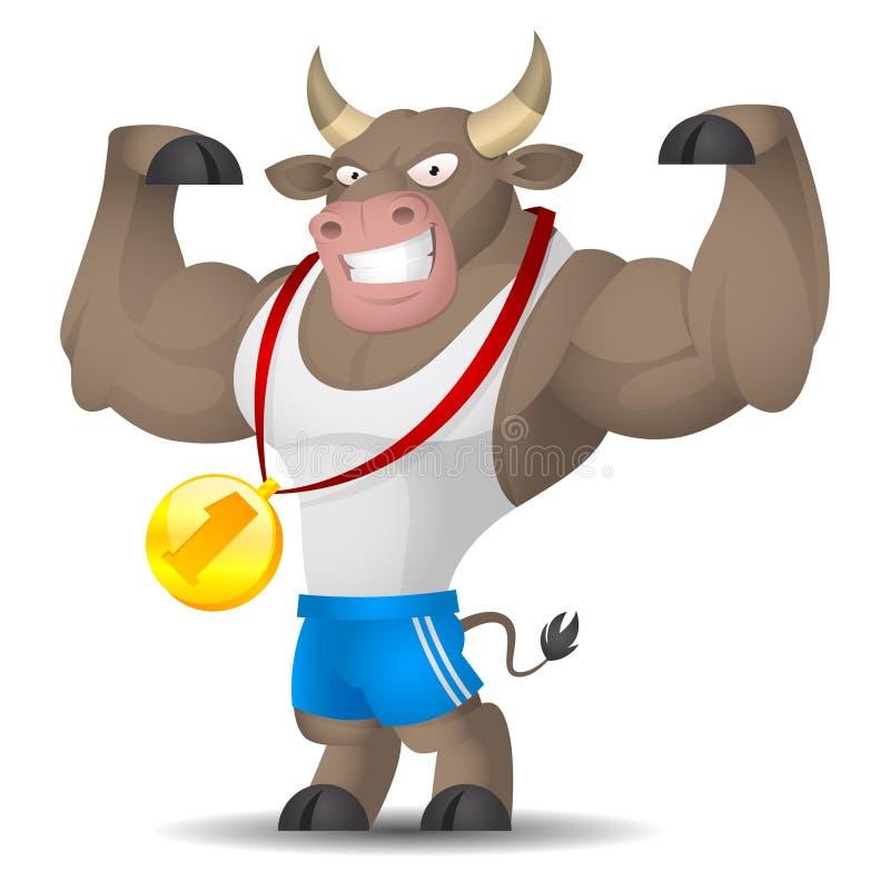 L'athlète de Taureau montre des muscles illustration de vecteur