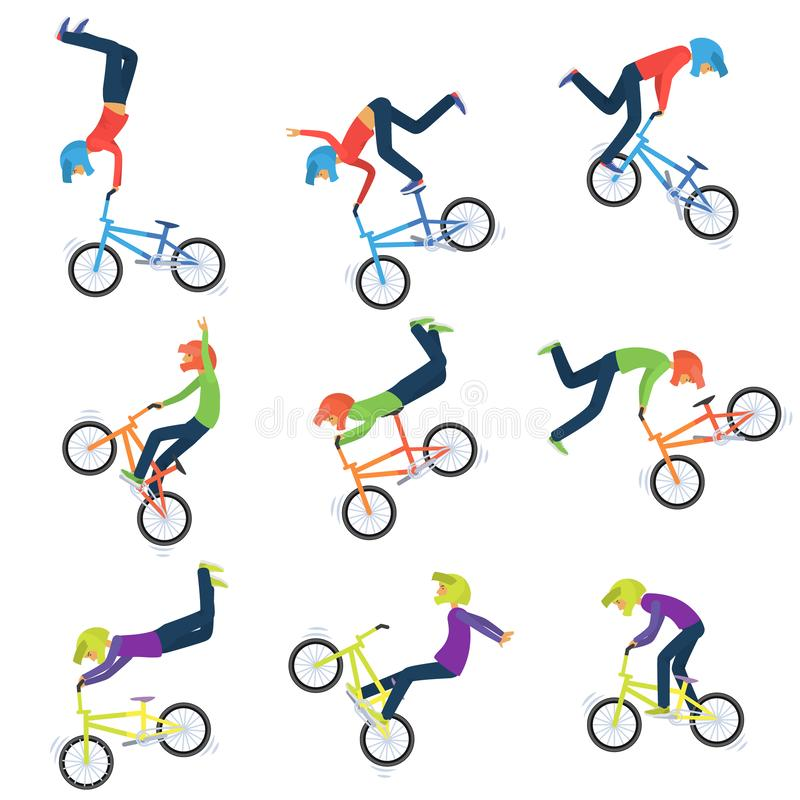 L'athlète exécute des cascades de vélo 9 silhouettes de haute qualité de cycliste de bmx illustration stock