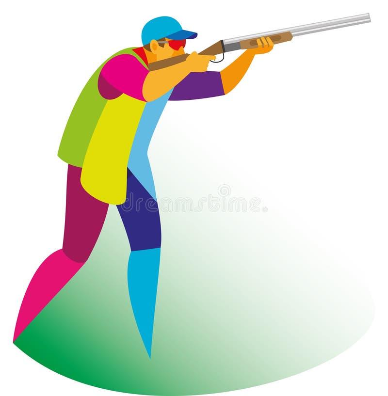 L'athlète expérimenté s'est engagé dans le tir de pigeon d'argile sur un shootin illustration stock