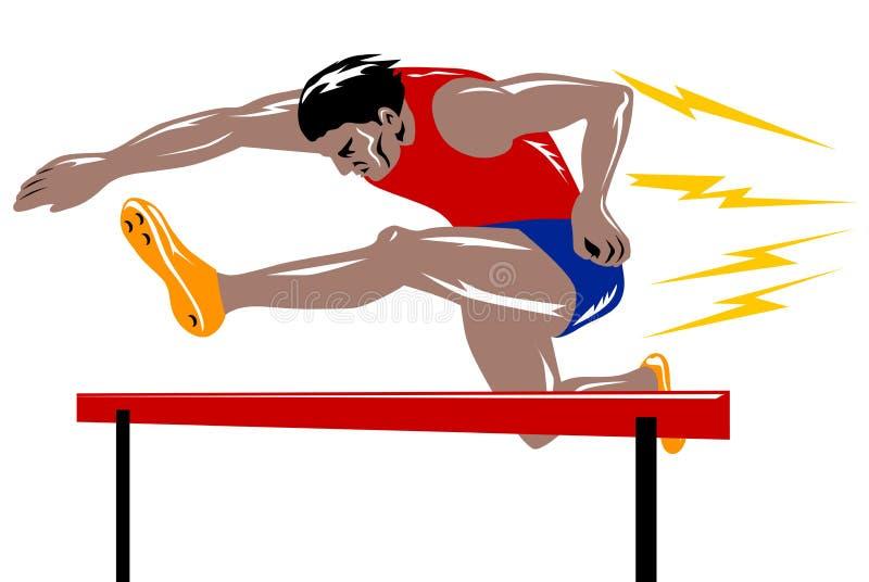 L athlète sautant l obstacle
