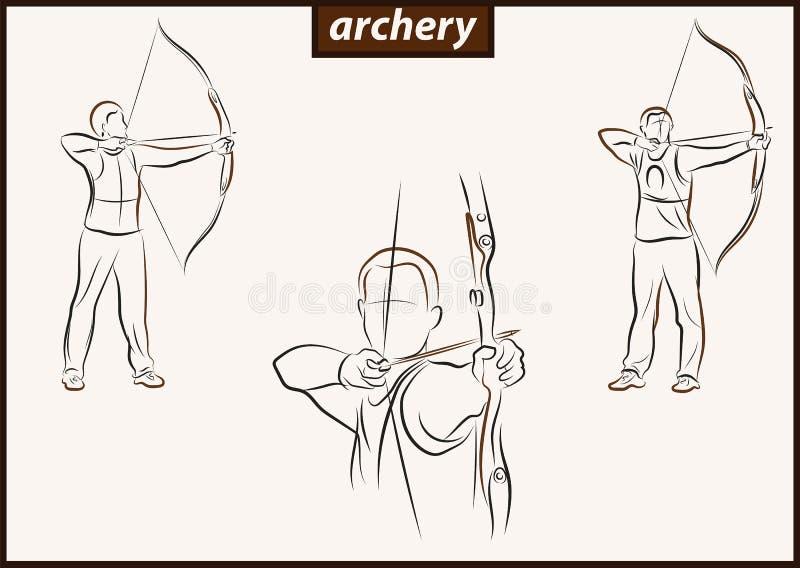 L'athlète tire un arc illustration de vecteur