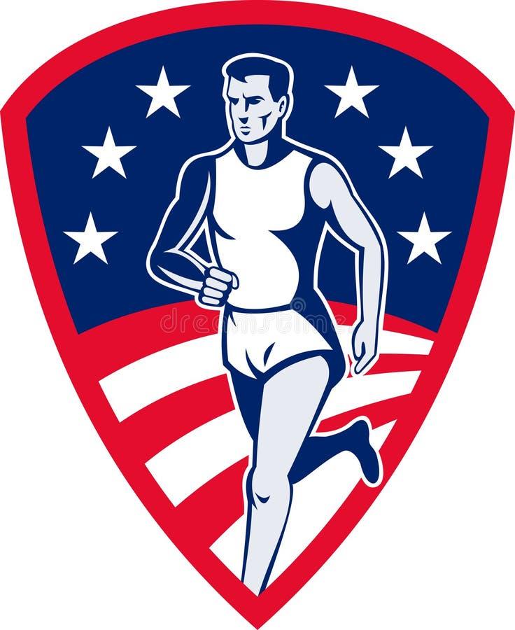 L'atleta di maratona mette in mostra il corridore illustrazione vettoriale