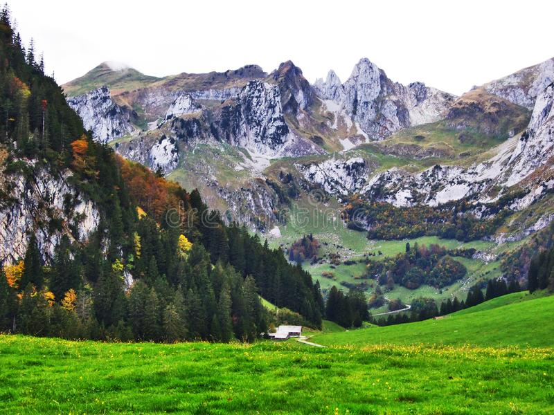 L'atmosphère d'automne sur des pâturages et des collines dans le Thur River Valley photo stock