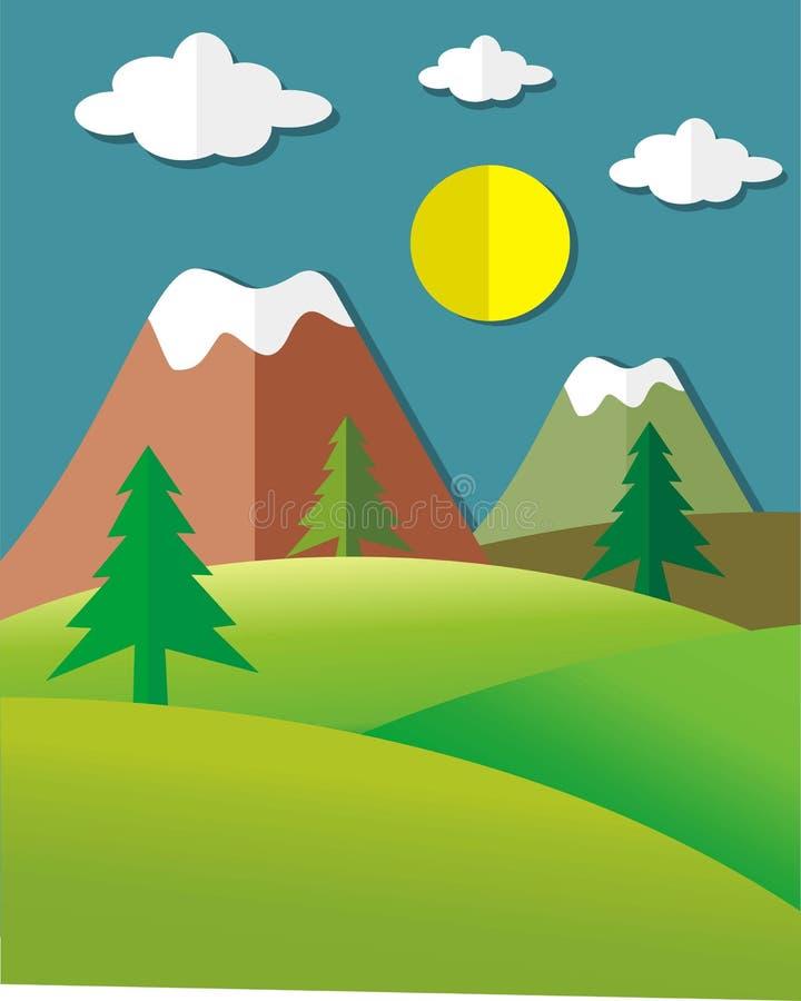 L'atmosphère montagneuse colorée sur le style coupé de papier illustration de vecteur
