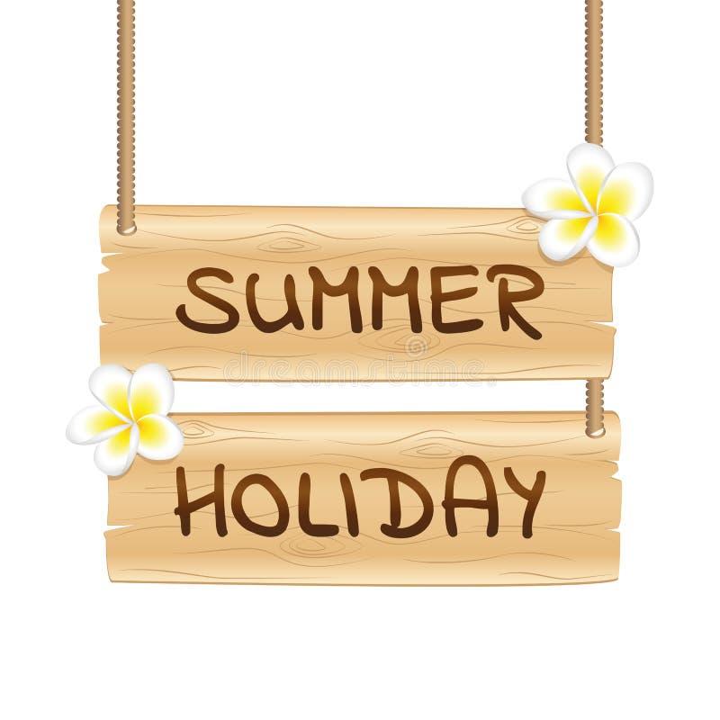 L'attaccatura di legno canta la vacanza estiva con i fiori tropicali del frangipane illustrazione di stock