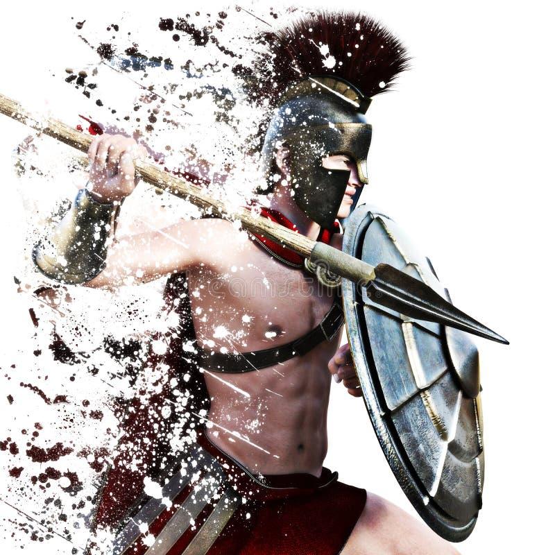 L'attacco spartano, illustrazione di un guerriero spartano in vestito da battaglia che attacca su un fondo bianco con schizza l'e fotografie stock libere da diritti