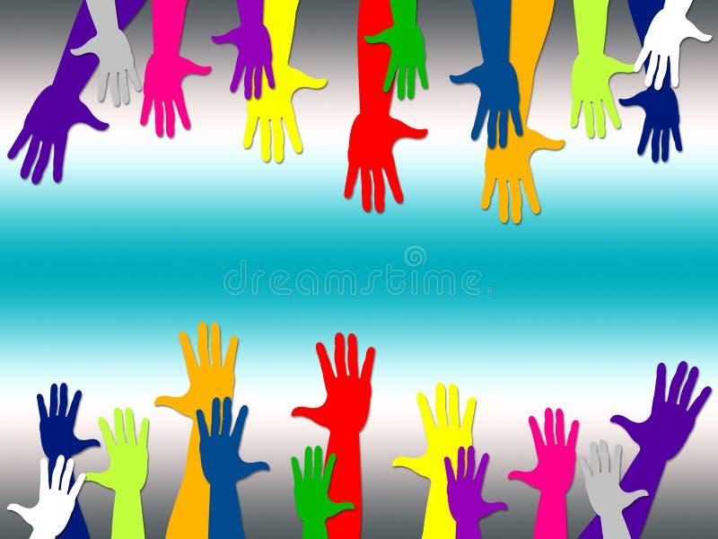L'atteinte représente les mains ensemble et le bras illustration stock