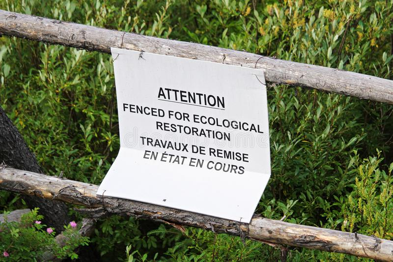 L'attention clôturée sont pour le signe écologique de restauration photos libres de droits