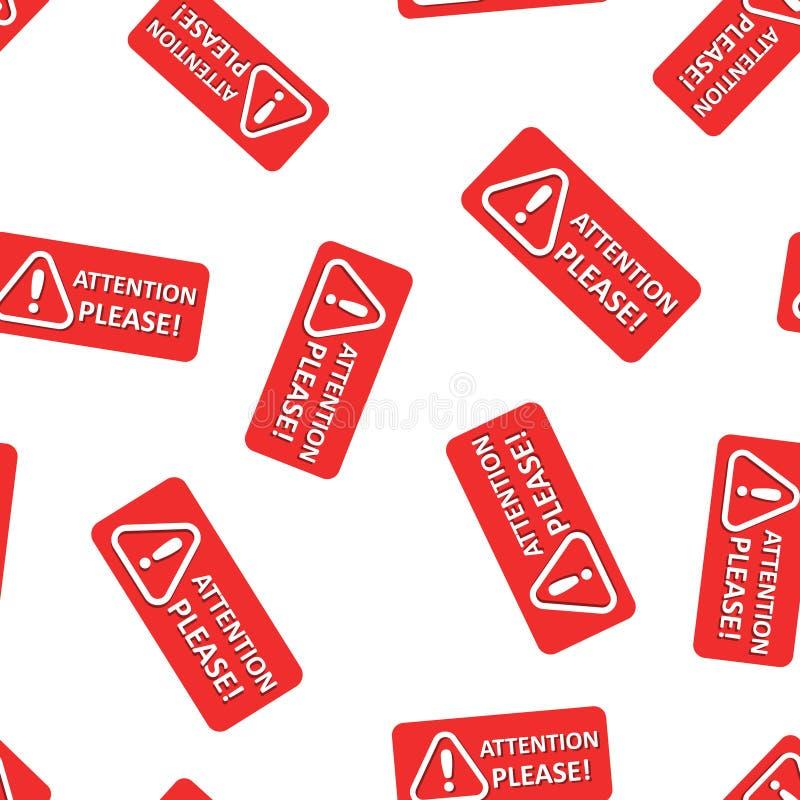 L'attention signent svp le fond sans couture de modèle d'icône Illustration de avertissement de vecteur de l'information sur le f illustration libre de droits