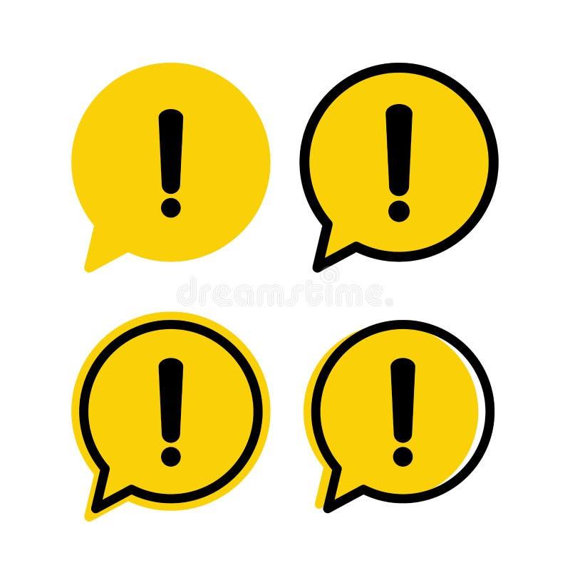L'attenzione gialla di avvertimento del pericolo firma in un insieme del fumetto illustrazione vettoriale