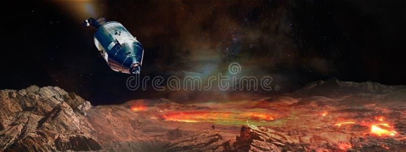 L'atterraggio del veicolo spaziale al pianeta straniero illustrazione di stock
