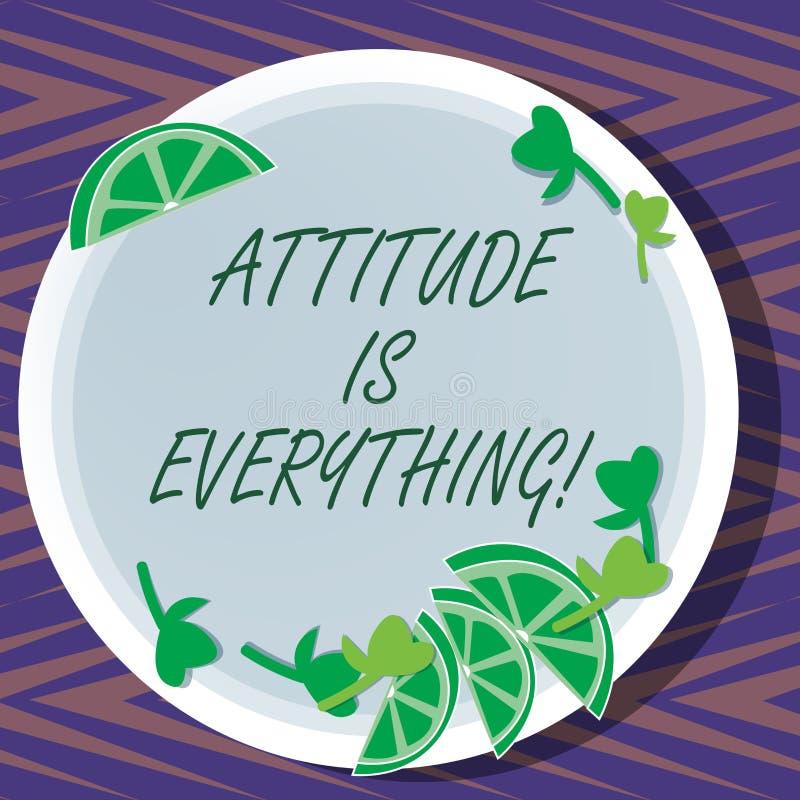 L'attitude des textes d'écriture de Word est tout Le concept d'affaires pour comprendre persuade notre attitude au sujet des coup illustration stock