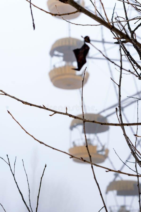 L'attraction jaune de roue de ferris de rouille en brouillard en hiver a abandonné le parc d'attractions envahi avec des arbres images stock