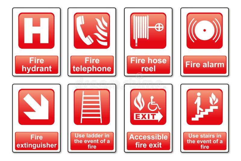 Segni dell'attrezzatura del fuoco fotografie stock
