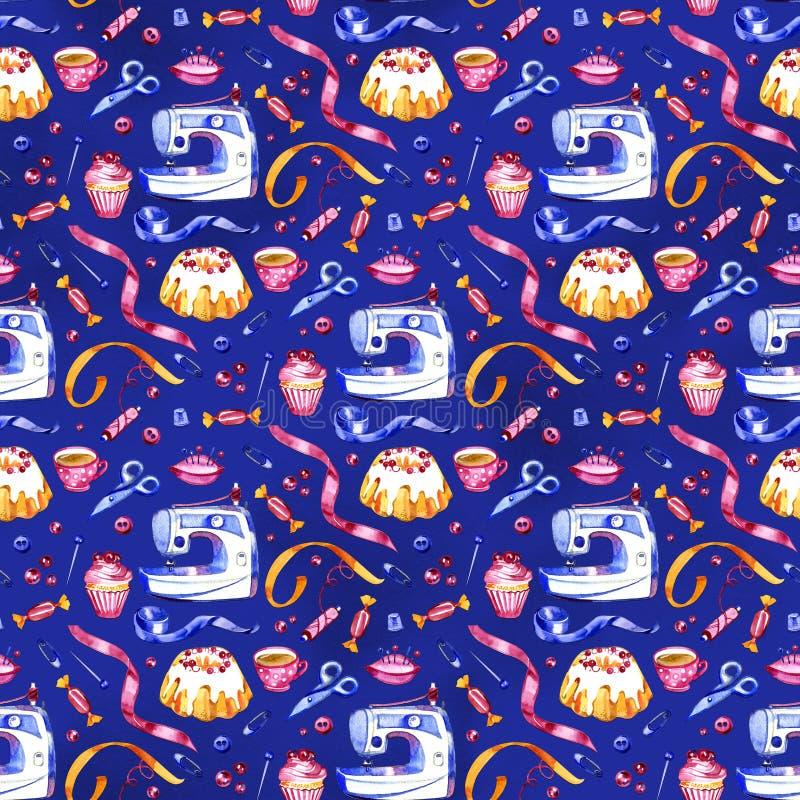 L'attrezzatura di cucito, sarto fornisce al modello senza cuciture colorato blu la linea piana icone messe Accessori del cucito - fotografia stock
