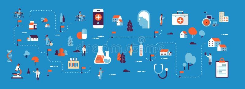 L'attrezzatura di laboratorio isometrica di concetto della mappa di sanità della medicina medica dei prodotti aggiusta e cura il  illustrazione di stock