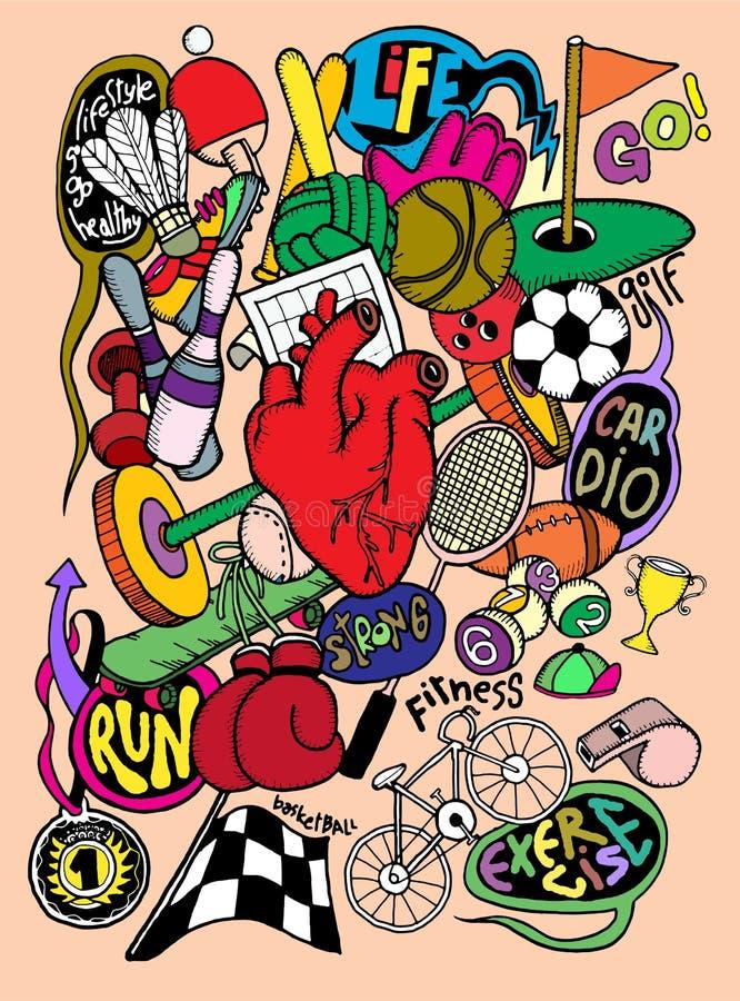 L'attrezzatura di sport disegnata a mano di scarabocchio, linea dell'illustratore foggia il disegno illustrazione di stock