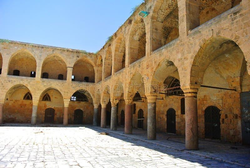 L'auberge Khan Al-Umdan Construit pendant le règne de l'empire de tabouret Akko l'israel images stock