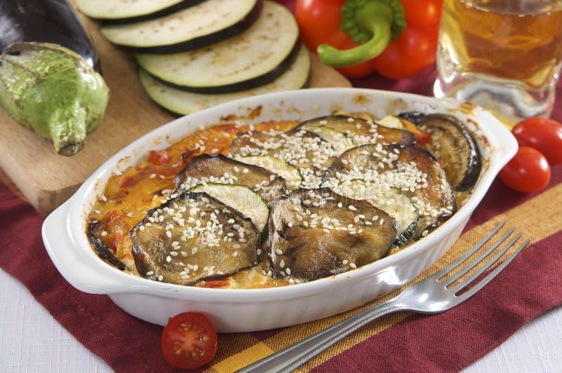 L'aubergine font cuire au four photo stock