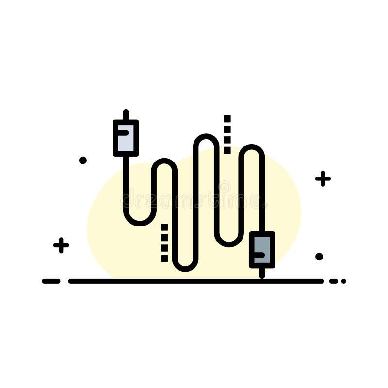 L'audio, câble, câbles, ligne plate d'affaires de communication a rempli calibre de bannière de vecteur d'icône illustration stock