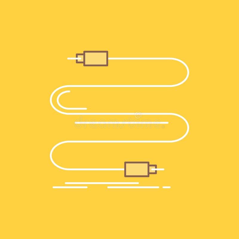 l'audio, câble, corde, bruit, ligne plate de fil a rempli icône Beau bouton de logo au-dessus de fond jaune pour UI et UX, site W illustration stock