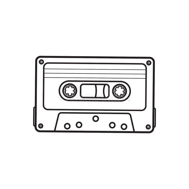 L'audio cassetta antiquata, nastro da 90s, ha isolato l'illustrazione di vettore illustrazione vettoriale