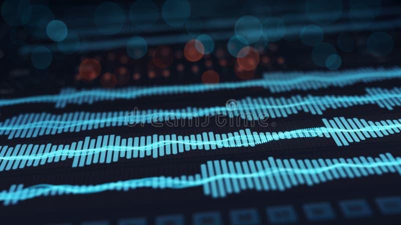 L'audio de Digital ondule sur l'écran illustration de vecteur