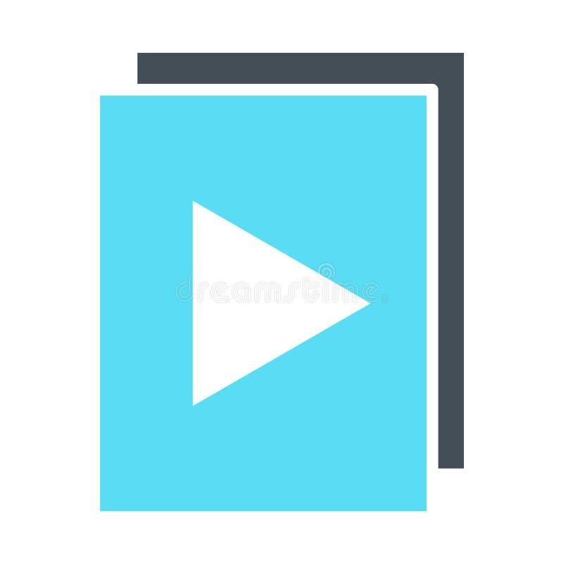 l'audio 96x96Icon ou les fichiers vidéos avec le bouton de jeu silhouettent l'icône Vecteur illustration stock