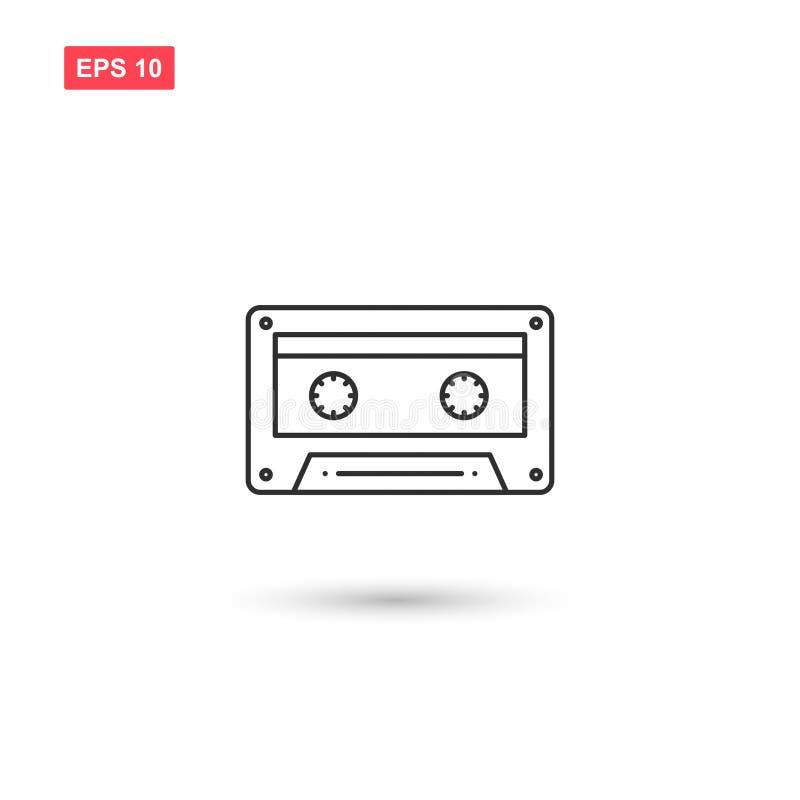 L'audio progettazione di vettore dell'icona del nastro a cassetta ha isolato 3 illustrazione di stock