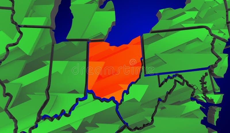 L'augmentation de flèches de l'Ohio améliorent l'économie Etats-Unis Amérique Etats-Unis M illustration de vecteur