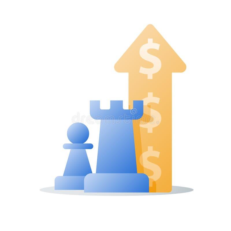 L'augmentation de revenu, croissance de revenu, concept financier, gagnent plus d'argent, retour sur l'investissement illustration de vecteur