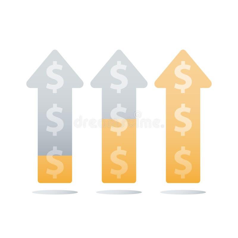L'aumento del reddito, la crescita di reddito, il grafico ascendente finanziario, accelerazione di affari, guadagna più soldi, ri illustrazione di stock