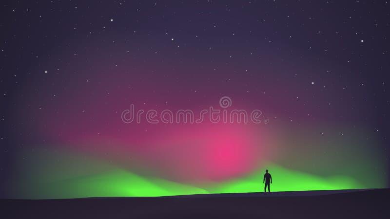 L'aurora boreale con un uomo nella priorità alta royalty illustrazione gratis