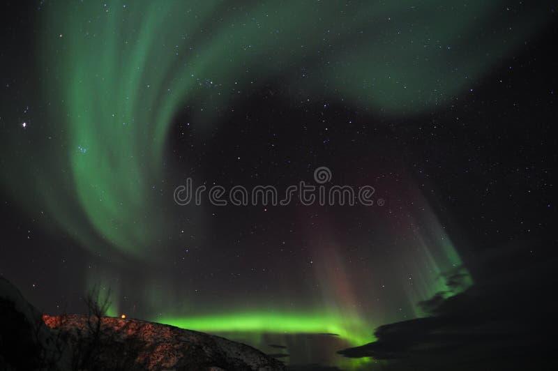 Aurora verde e porpora fotografia stock libera da diritti
