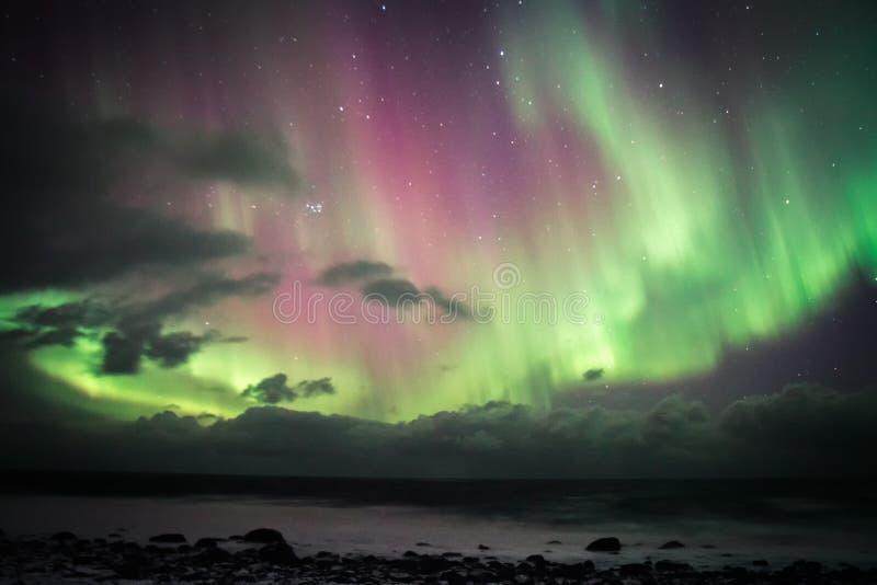 L'aurore au-dessus de Lofoten, Norvège images libres de droits