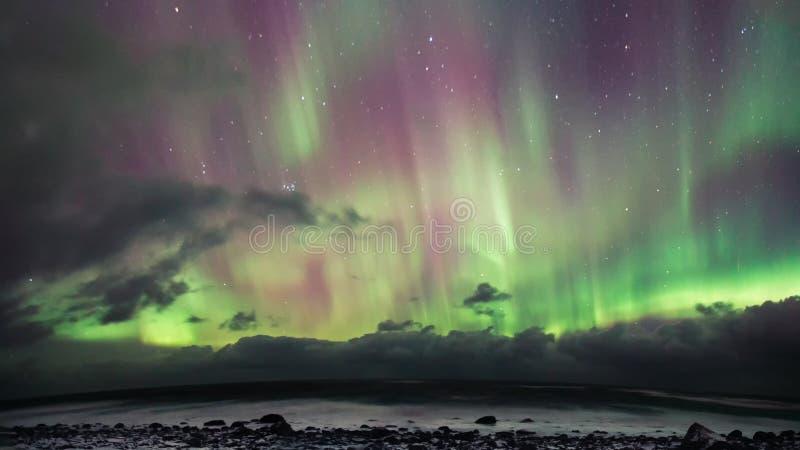 L'aurore au-dessus de Lofoten, Norvège photos stock