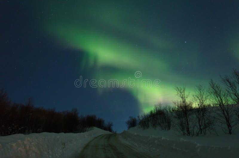 L'aurore, lumières du nord au-dessus des collines et route photos libres de droits