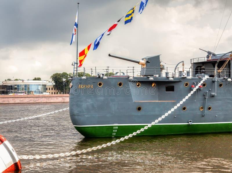 L'aurore révolutionnaire légendaire de croiseur à l'endroit photo libre de droits